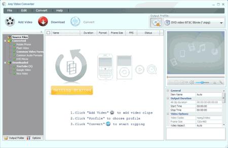 Интерфейс программы Any Video Converter