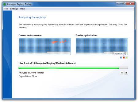 Скриншот главного окна Auslogics Registry Defrag