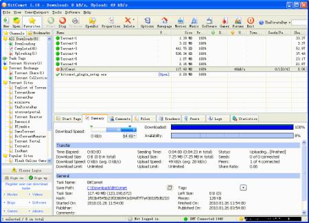 Интерфейс программы BitComet