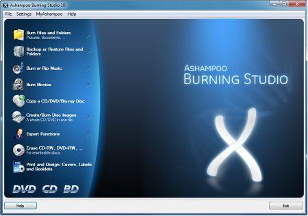 Скриншот программы Ashampoo Burn Studio v.10