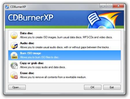 Скриншот окна программы CDBurnerXP