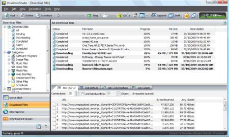 Снимок главного окна DownloadStudio