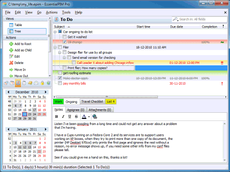 Рабочее окно EssentialPIM
