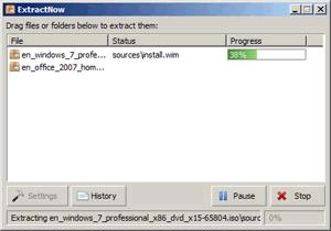 Окно программы ExtractNow