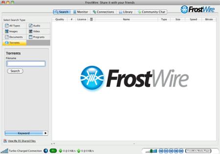 Скриншот рабочего окна FrostWire