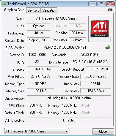 Скриншот главной вкладки GPU-Z
