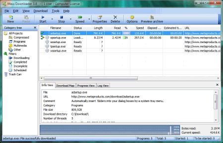 Интерфейс программы Mass Downloader