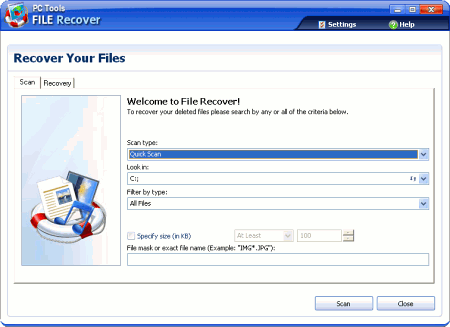 Интерфейс PC Tools File Recover