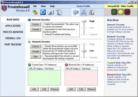 Интерфейс программы Priveatefirewall