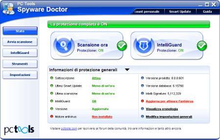 Главное окно Spyware Doctor
