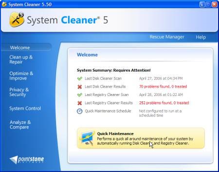 Рабочее окно System Cleaner