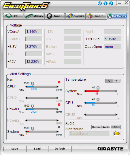 Интерфейс программы Gigabyte EasyTune