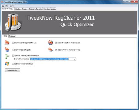 Интерфейс TweakNow RegCleaner