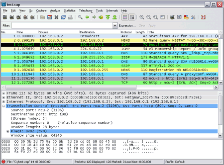 �������� ���������� �������� ���� Wireshark