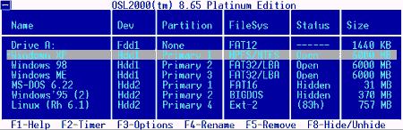 Интерфейс OSL2000 Boot Manager
