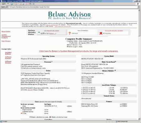 Результат работы Belarc Advisor