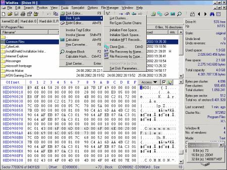 Интерфейс программы WinHex