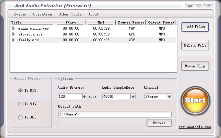 Интерфейс программы AoA Audio Extractor