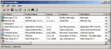 Окно программы MyUninstaller