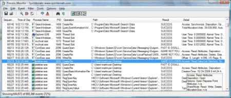Рабочее окно Process Monitor
