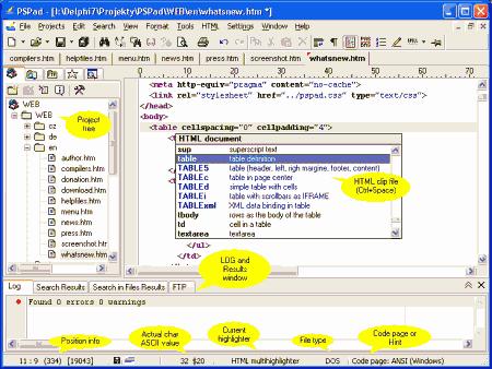 Интерфейс PSPad Editor