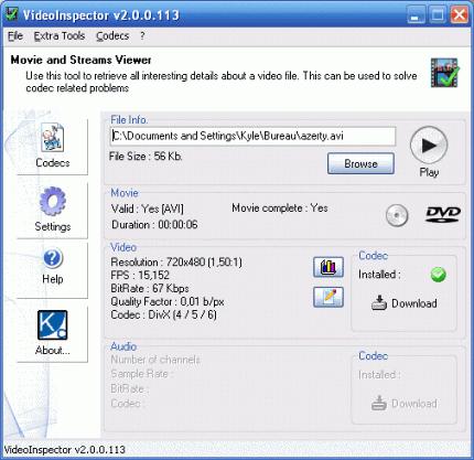Окно программы VideoInspector