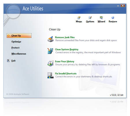 Интерфейс оболочки Ace Utilities