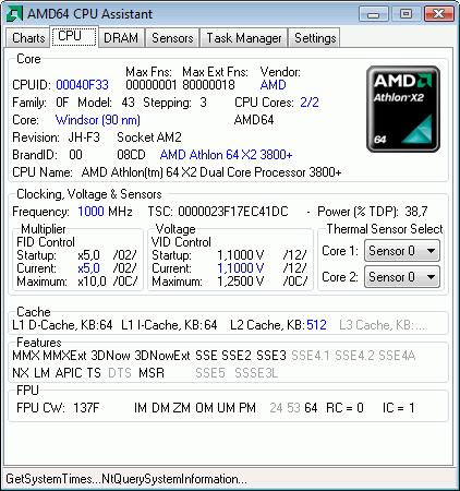 Интерфейс программы AMD64 CPU Assistant