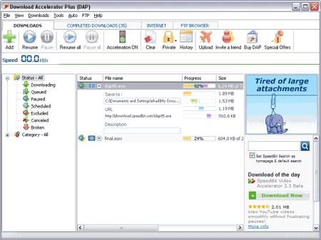 Скриншот окна Download Accelerator Plus