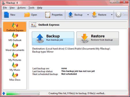 Интерфейс программы FBackup