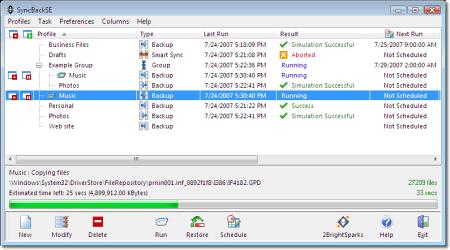 Интерфейс программы SyncBackSE