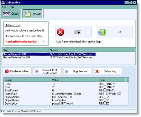 Окно программы UnHackMe