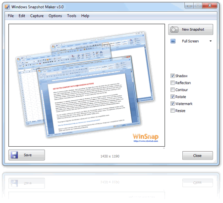 Интерфейс программы WinSnap