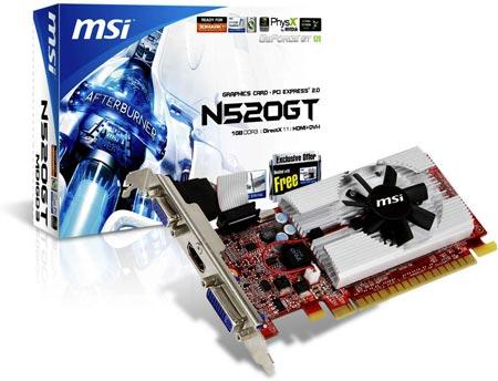 3D-карта MSI N520GT-MD1GD3/LP
