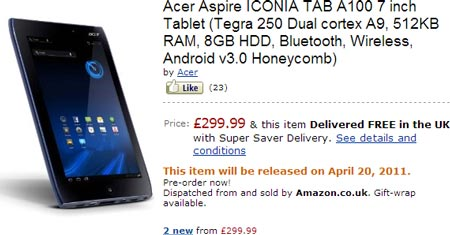 ������� Acer Iconia Tab A100