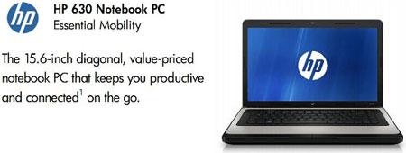 Для HP 630 доступны процессоры Intel Core i3-2310M, Intel Pentium P6200 и Intel Core 2 Duo T6670