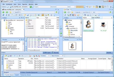 Интерфейс программы SmartFTP
