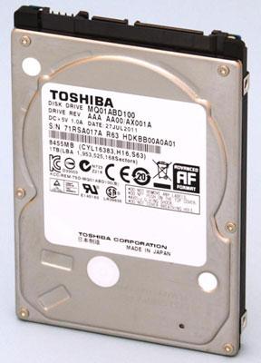 Максимальный объем тонких жестких дисков Toshiba серии MQ01ABD достигает 1 ТБ