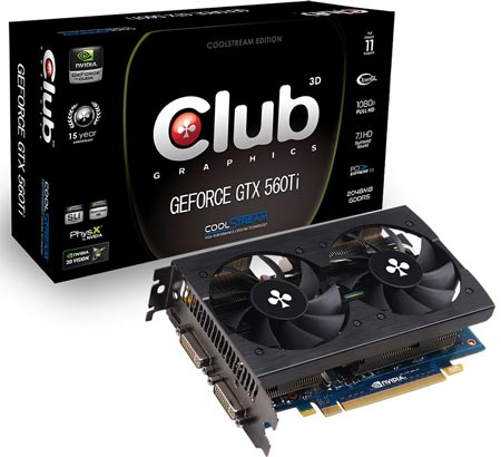 Club 3D анонсирует 3D-карту GeForce GTX 560 Ti CoolStream с 2 ГБ памяти