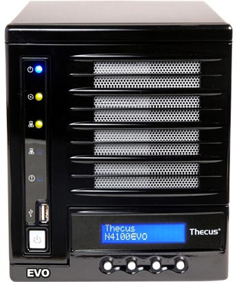 NAS Thecus N4100EVO имеет четыре отсека для накопителей