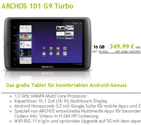 ����������� ���������� �������� ������������ ������� Archos 101 G9 Turbo
