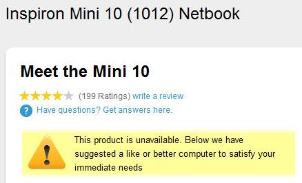 Dell сняла с производства 10-дюймовые нетбуки