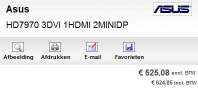 В голландском интернет-магазине AMD Radeon HD 7970 оценивается в 525 евро без учета налогов