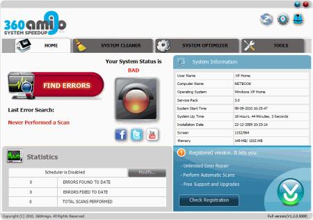 Скриншот программы 360Amigo System Speedup