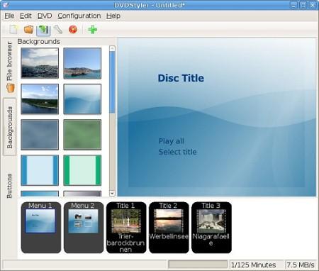 Интерфейс программы DVDStyler