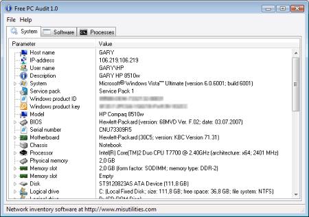 Интерфейс программы Free PC Audit