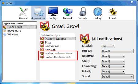 Снимок интерфейса программы Gmail Growl