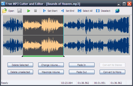 Интерфейс Free MP3 Cutter and Editor