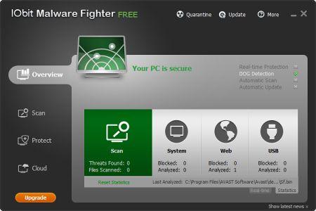 Интерфейс программы IObit Malware Fighter