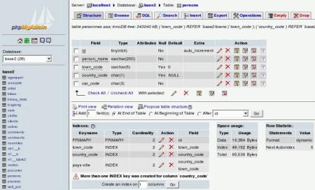 Рабочее окно phpMyAdmin